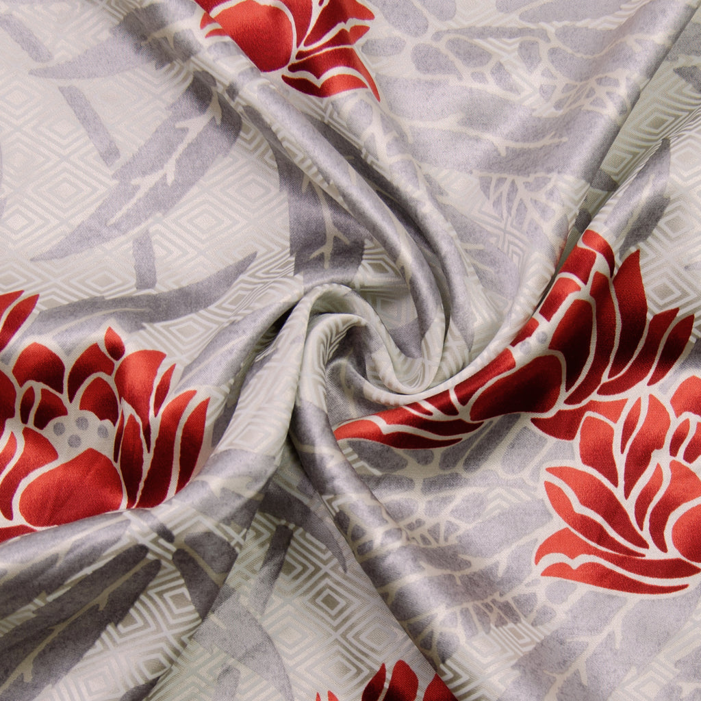 Vadin Beige Red Printed Viscose Satin (PANEEL 140CM)