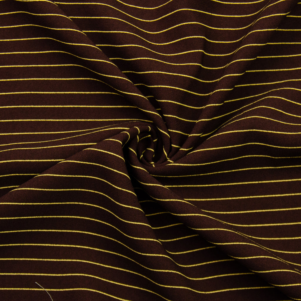 Valiant Brown Yellow Striped Viscose Crepe