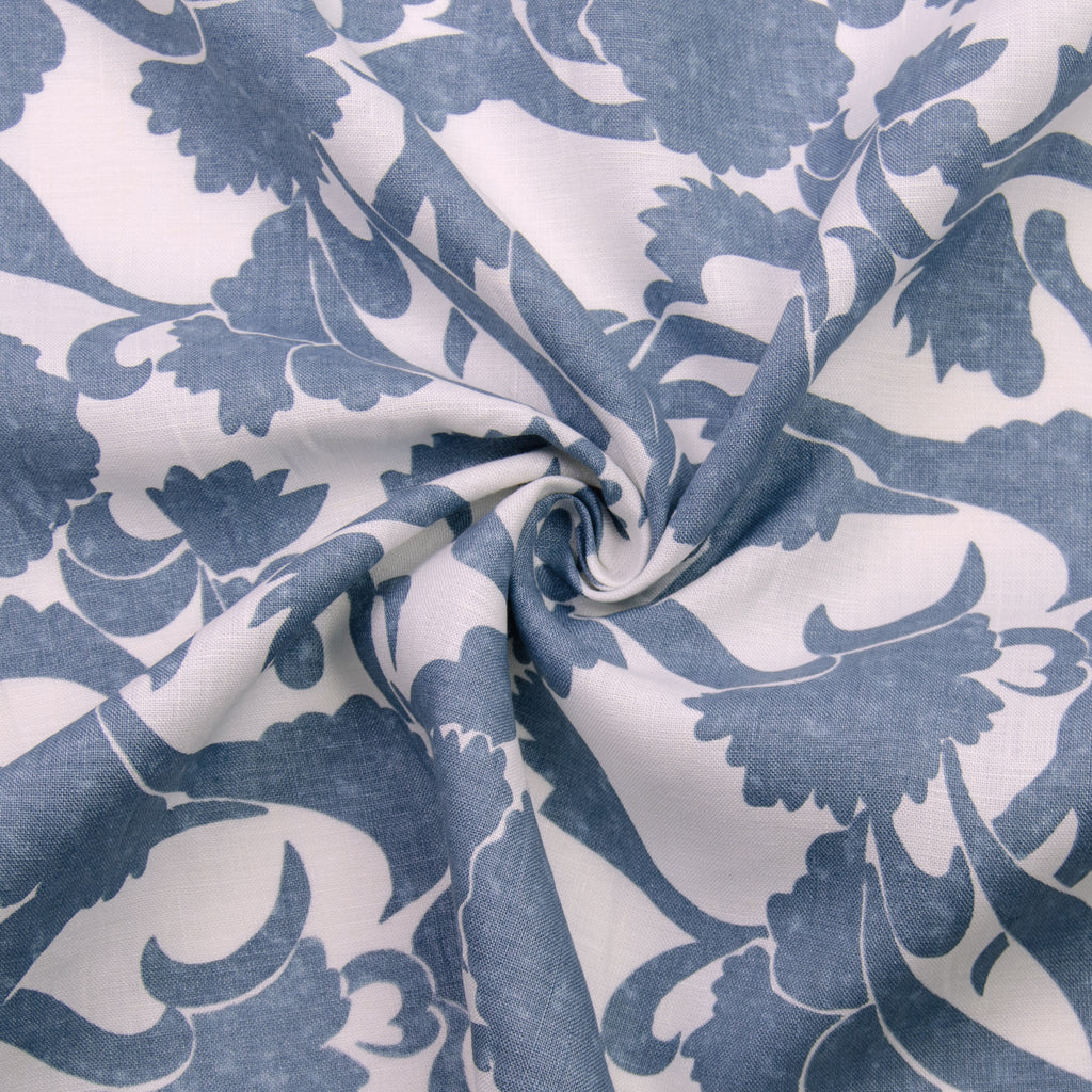 Nora Blue Floral Printed Linen
