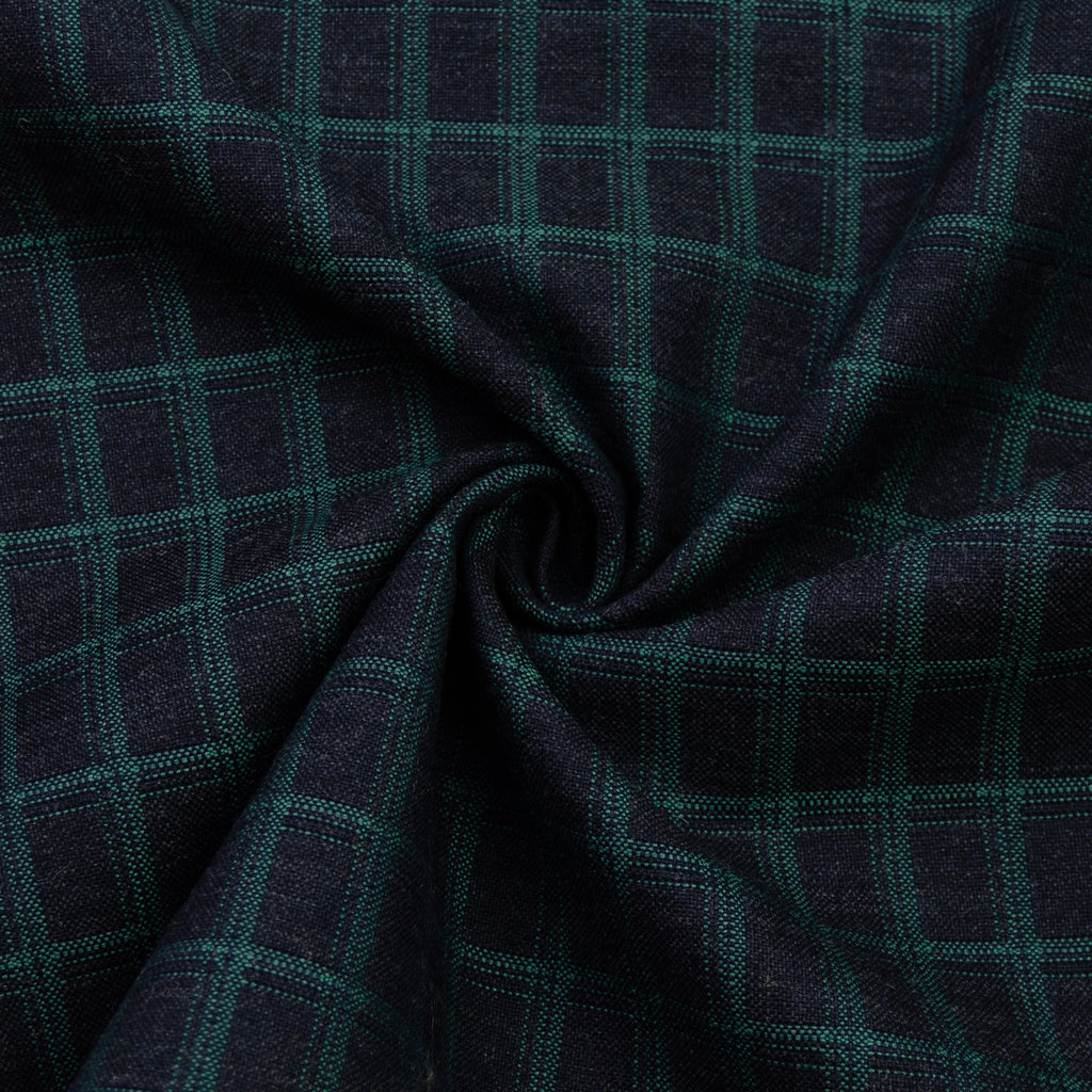 Plummer Grey Green Check Wool Cotton Blend