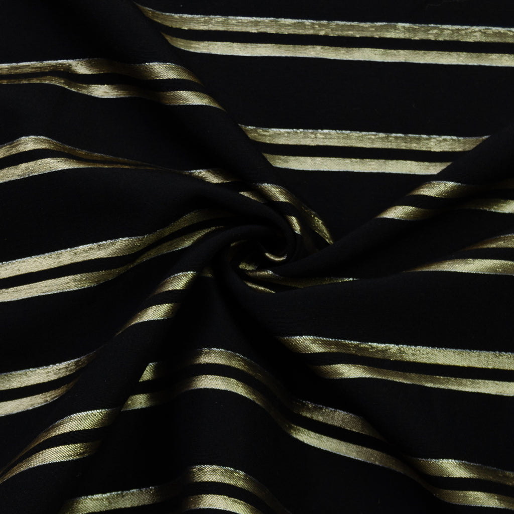Vasha Black Gold Striped Wool