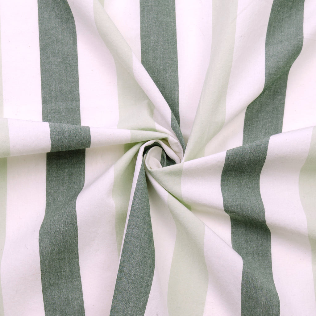 Provan Green Striped Cotton Poplin