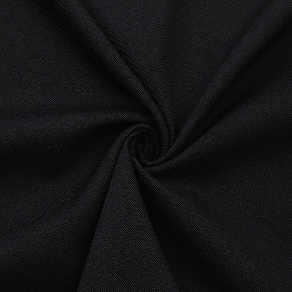 Gable Black Twill Wool Cotton Blend