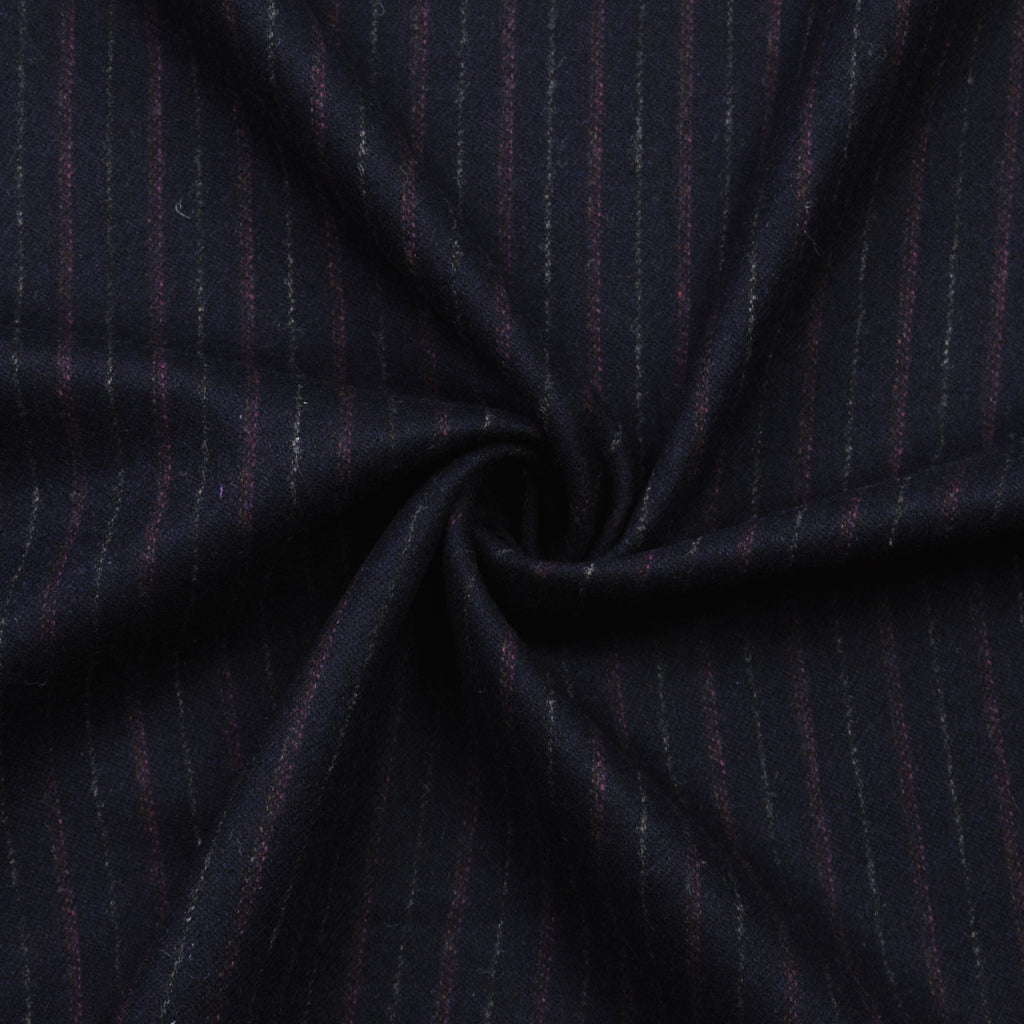 Baqir Navy Striped Wool Flannel