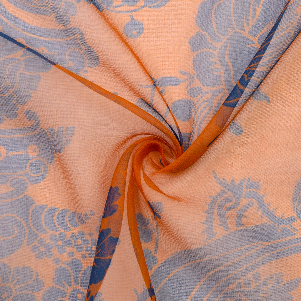 Rayan Blue & Orange Printed Silk Chiffon