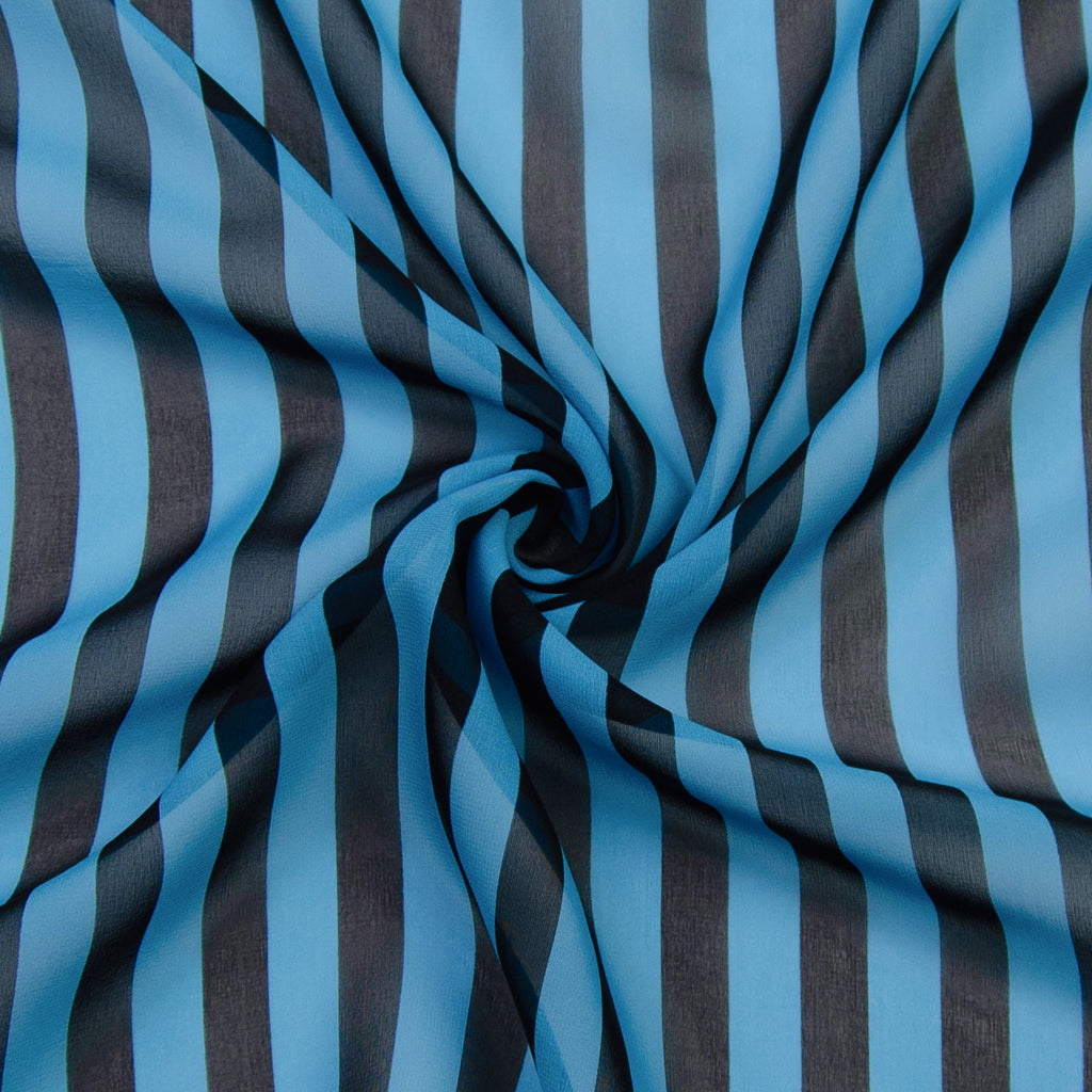 Prince Black Blue Striped Silk Chiffon