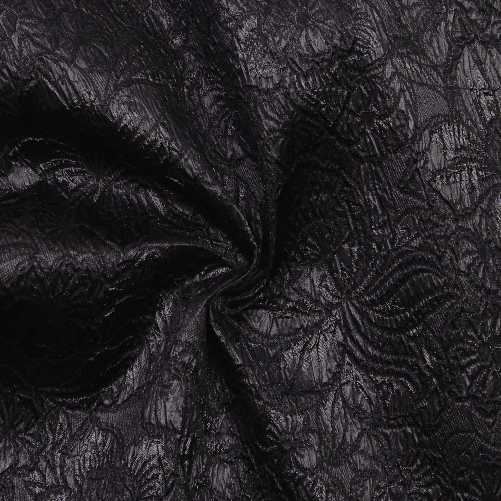 Raina Black Textured Silk Polyamide Blend