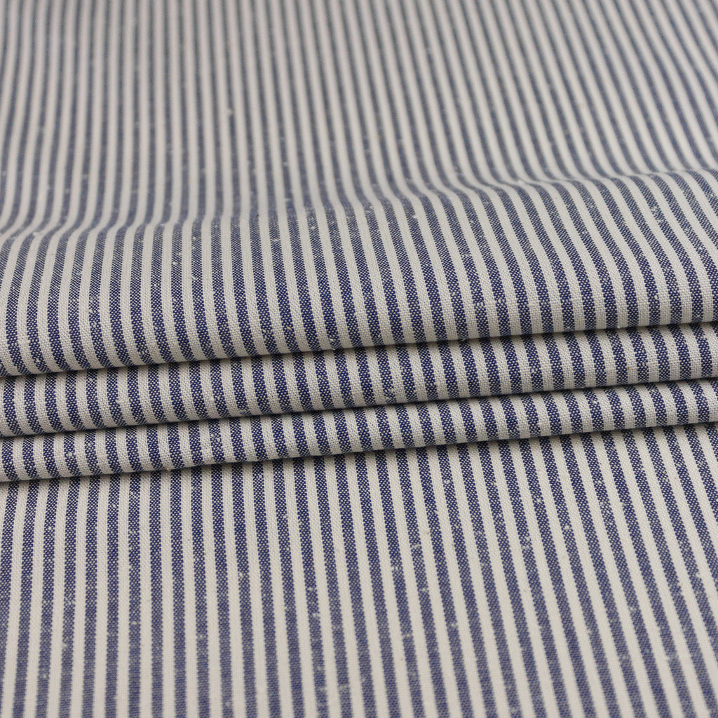 Georgy Off-White & Blue Striped Cotton