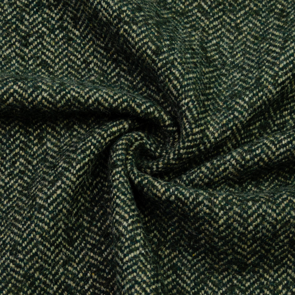 Edolie Green Herringbone Wool