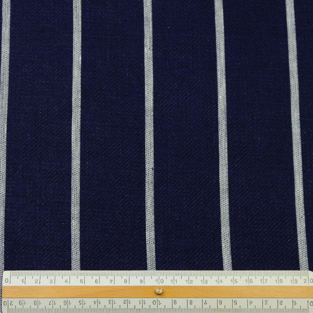 Ei Blue Striped Linen Cotton Blend
