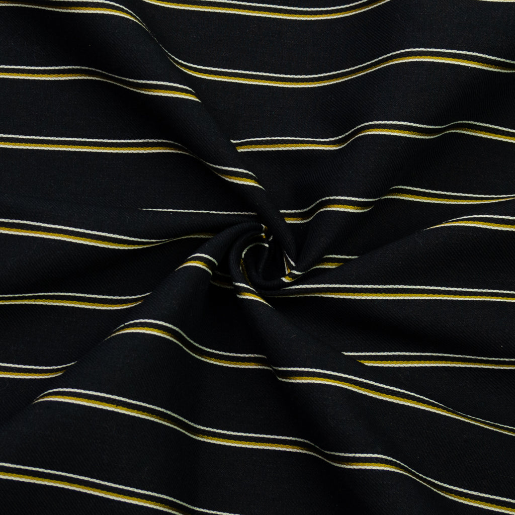 Egor Black Striped Cotton Linen Blend