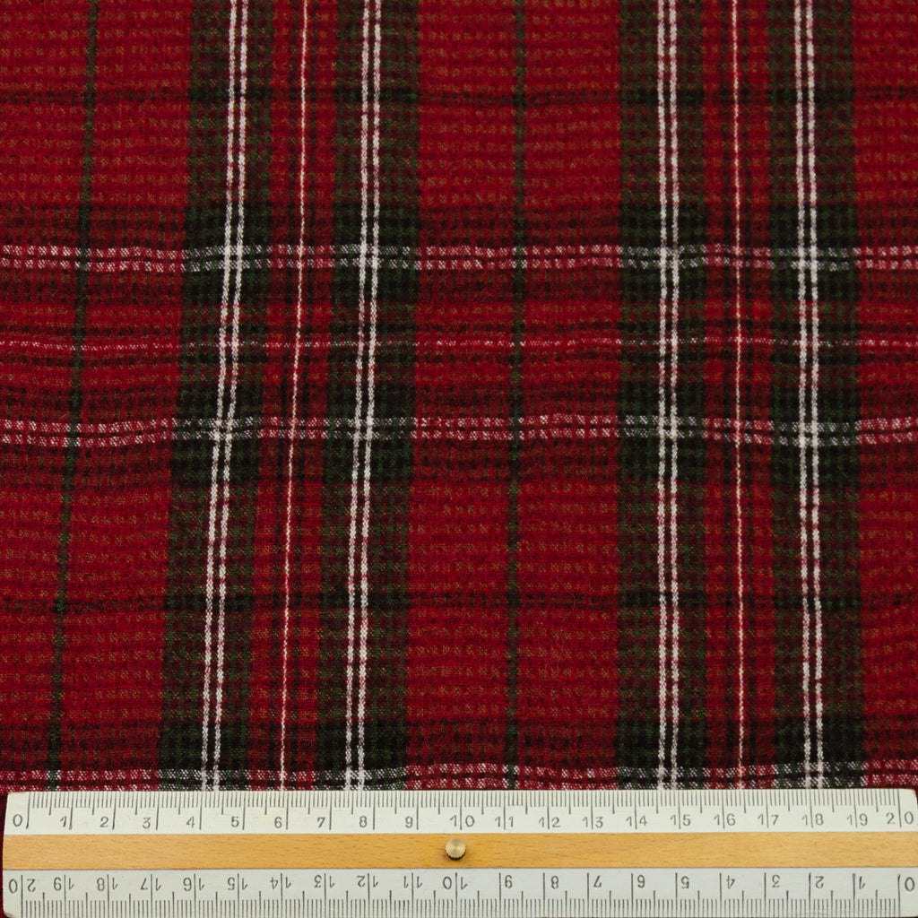 Elke Red Plaid Wool Cotton Blend