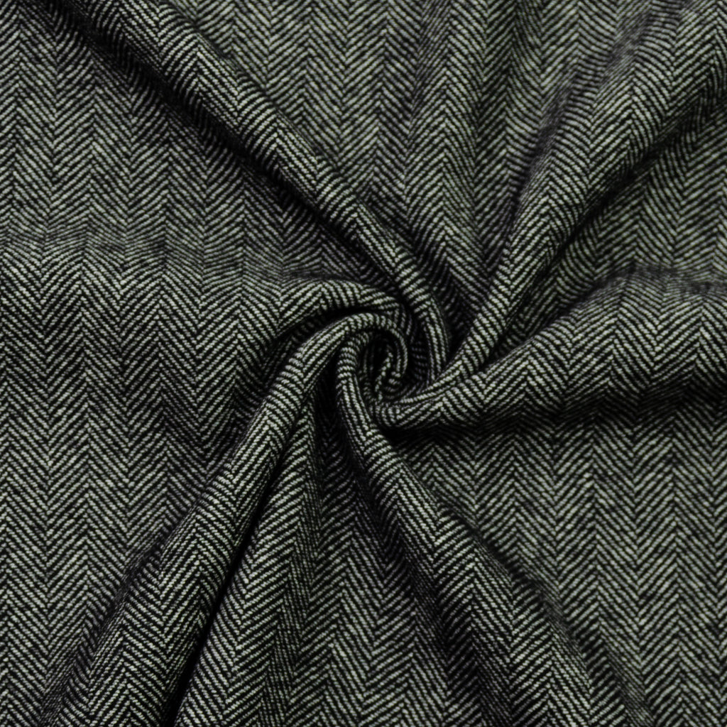 Eddie Black Herringbone Wool