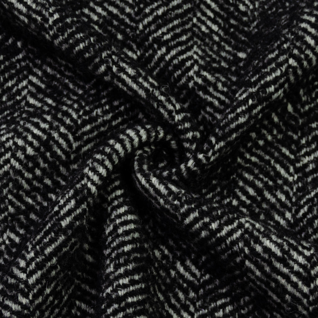 Edaline Black White Herringbone Wool Blend