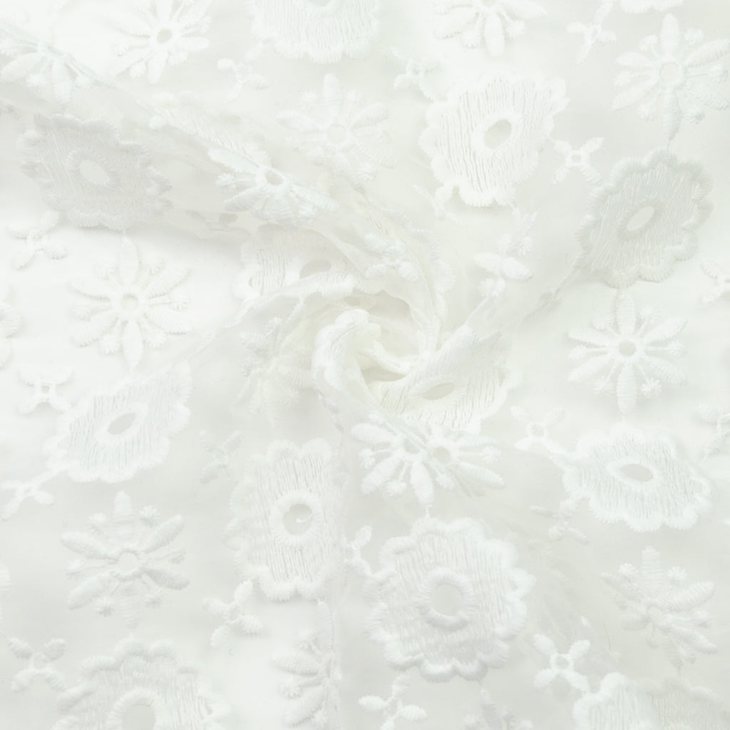 Elana Floral Embroidered Polyester Cotton Voile