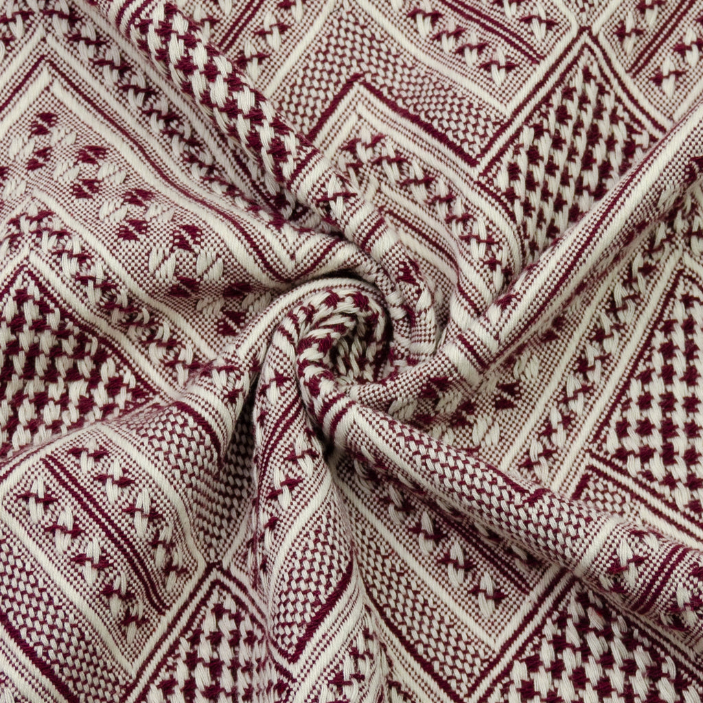 Emlyn Burgundy Ethnic Jacquard Cotton