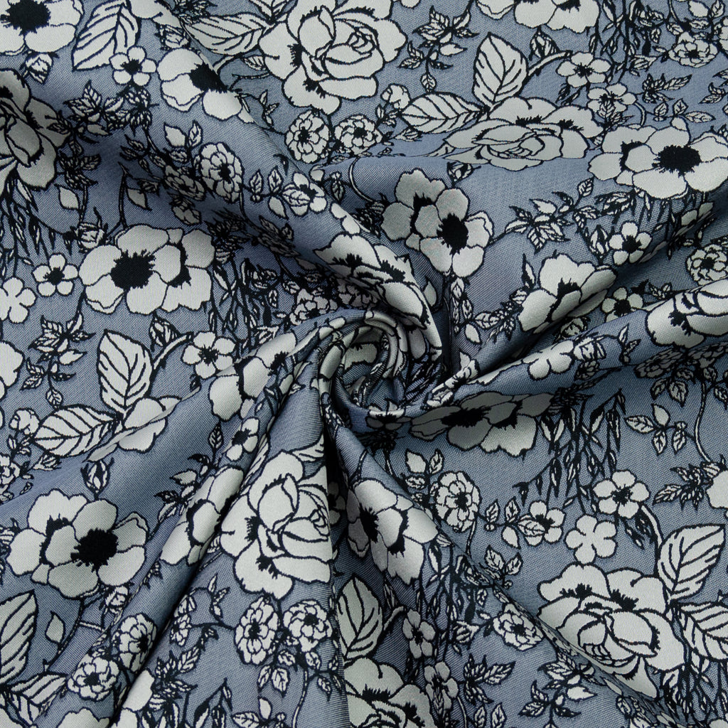 Emilio Grey Flowers Jacquard Polyester Blend