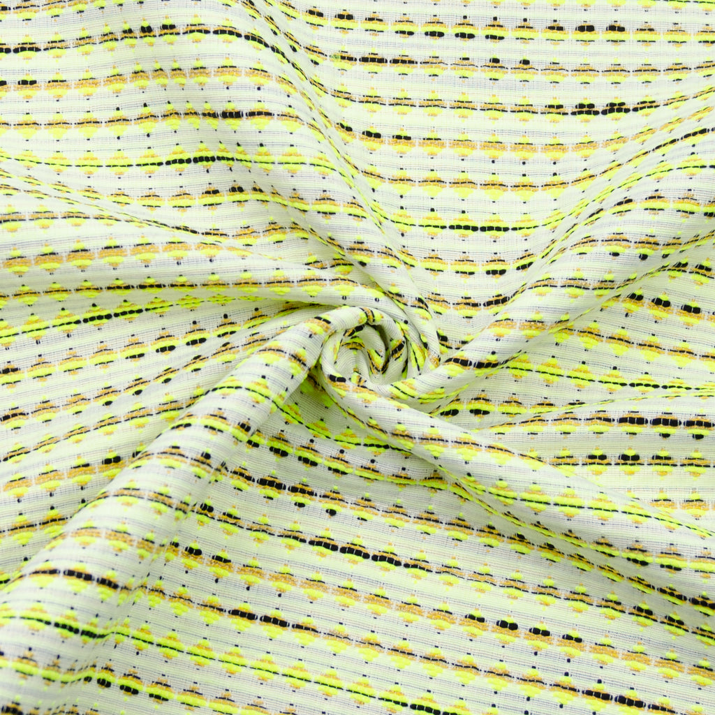 Elea Yellow White Jacquard Cotton Polyester Blend