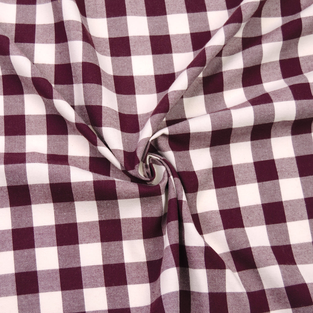 Danae Burgundy & White Check Cotton Flanelette
