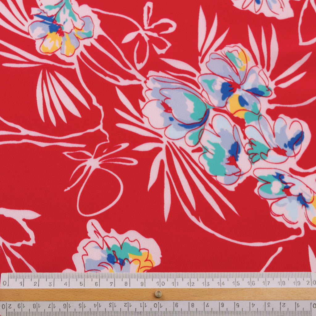 Leryn Red Floral Printed Silk