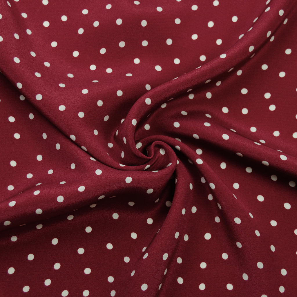 Laura Red & White Polka Dot Silk
