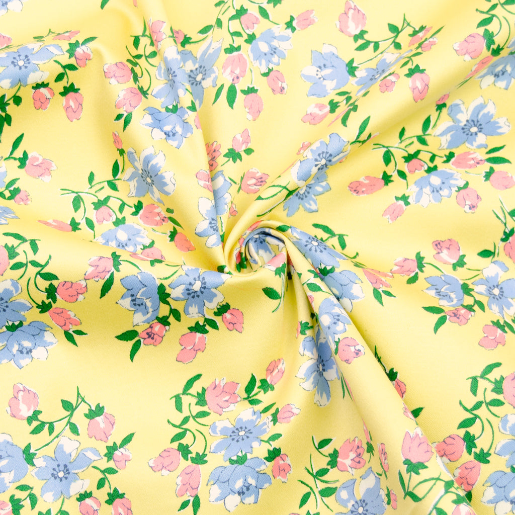 Larissa Yellow Flowers Stretch Cotton