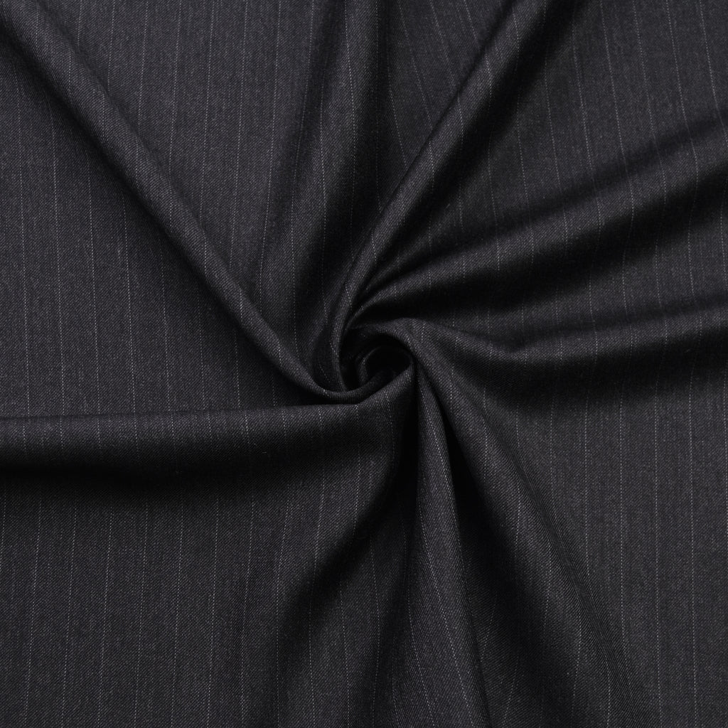 Leila Dark Grey Pinstripes Wool Dormeuil