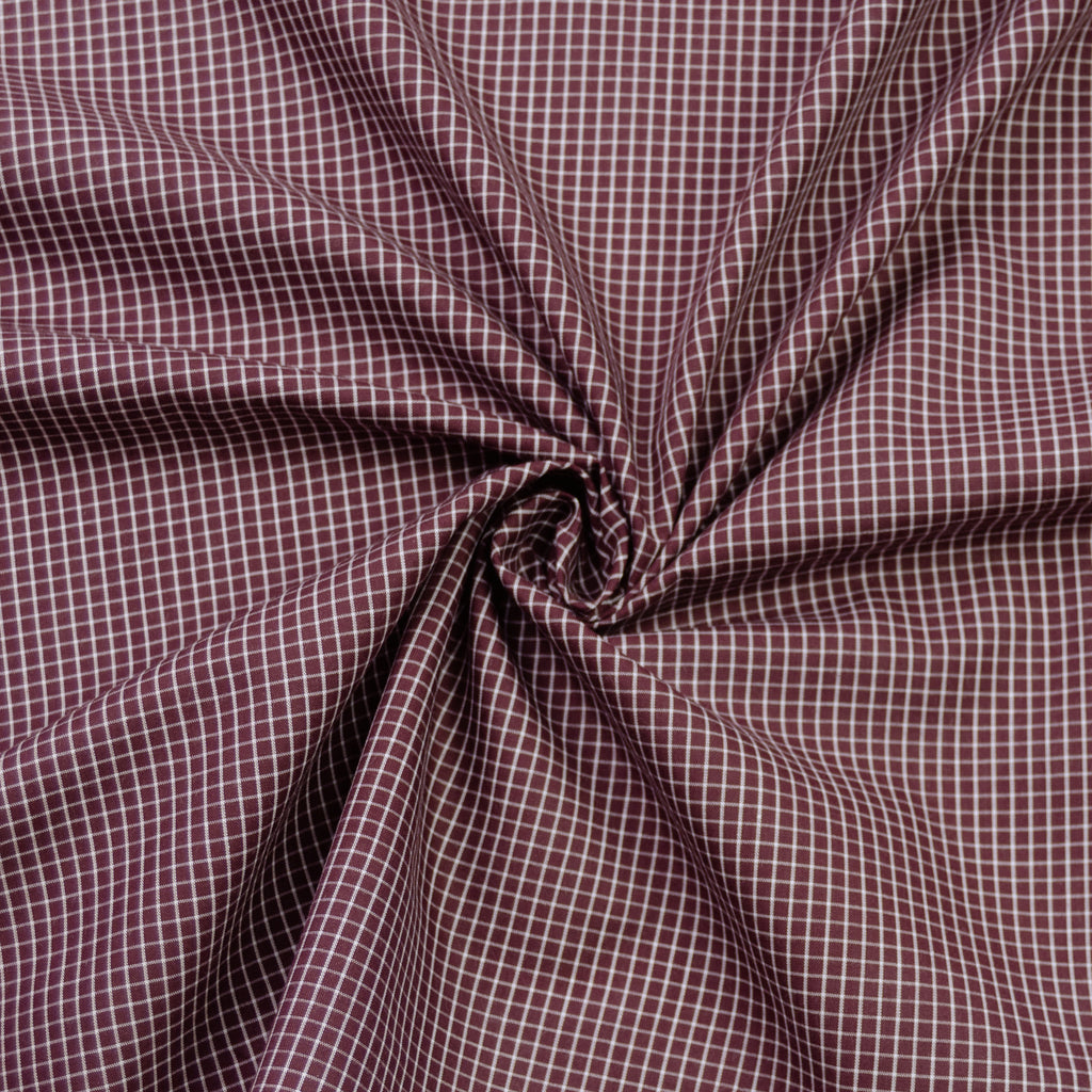 Floriza Aubergine & White Check Cotton