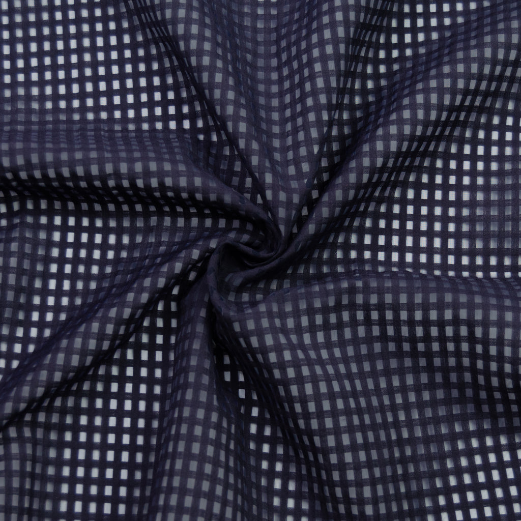 Ferial Dark Blue Checked Cotton