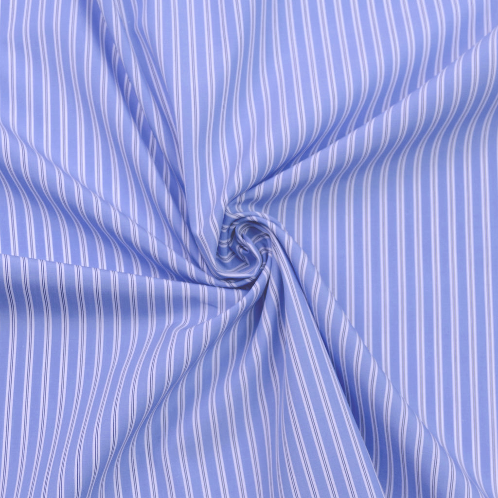 Lenora Blue & White Striped Cotton