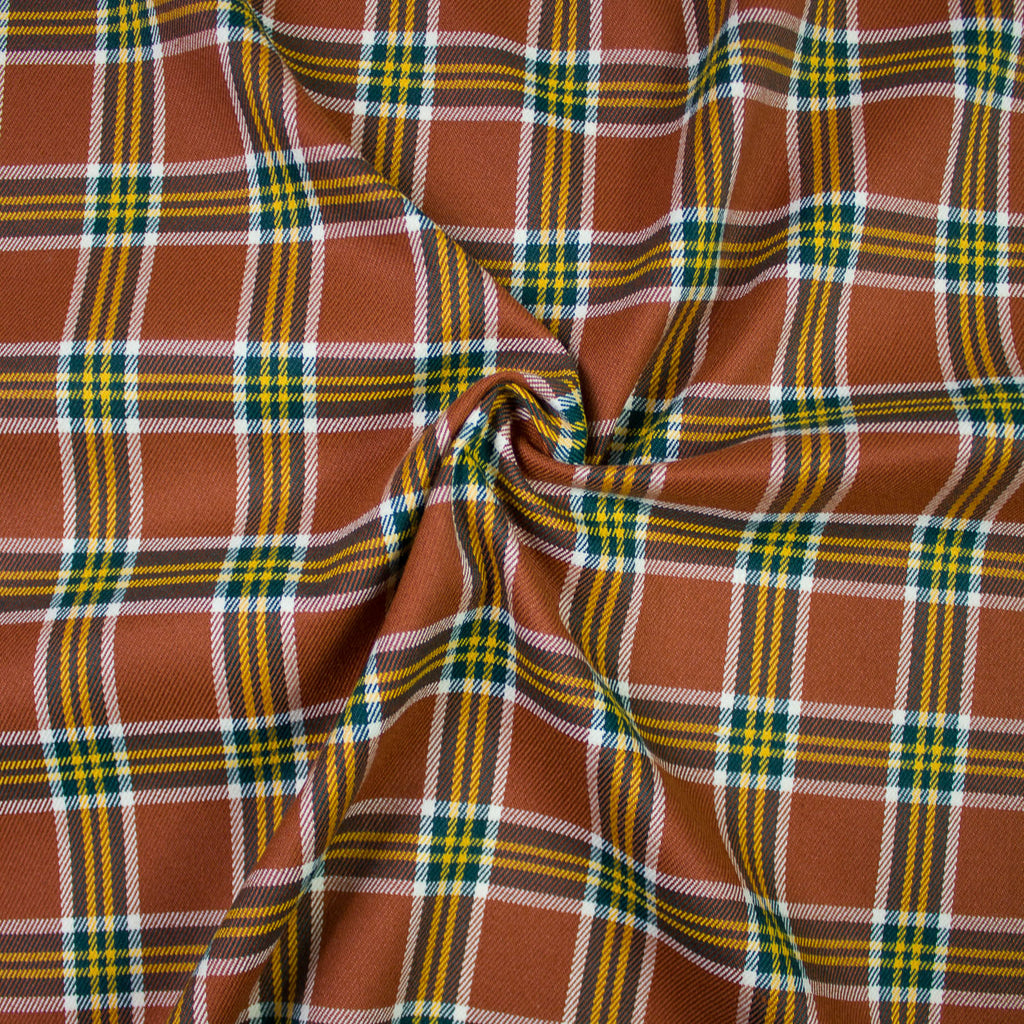 Leander Rust Plaid Viscose Blend