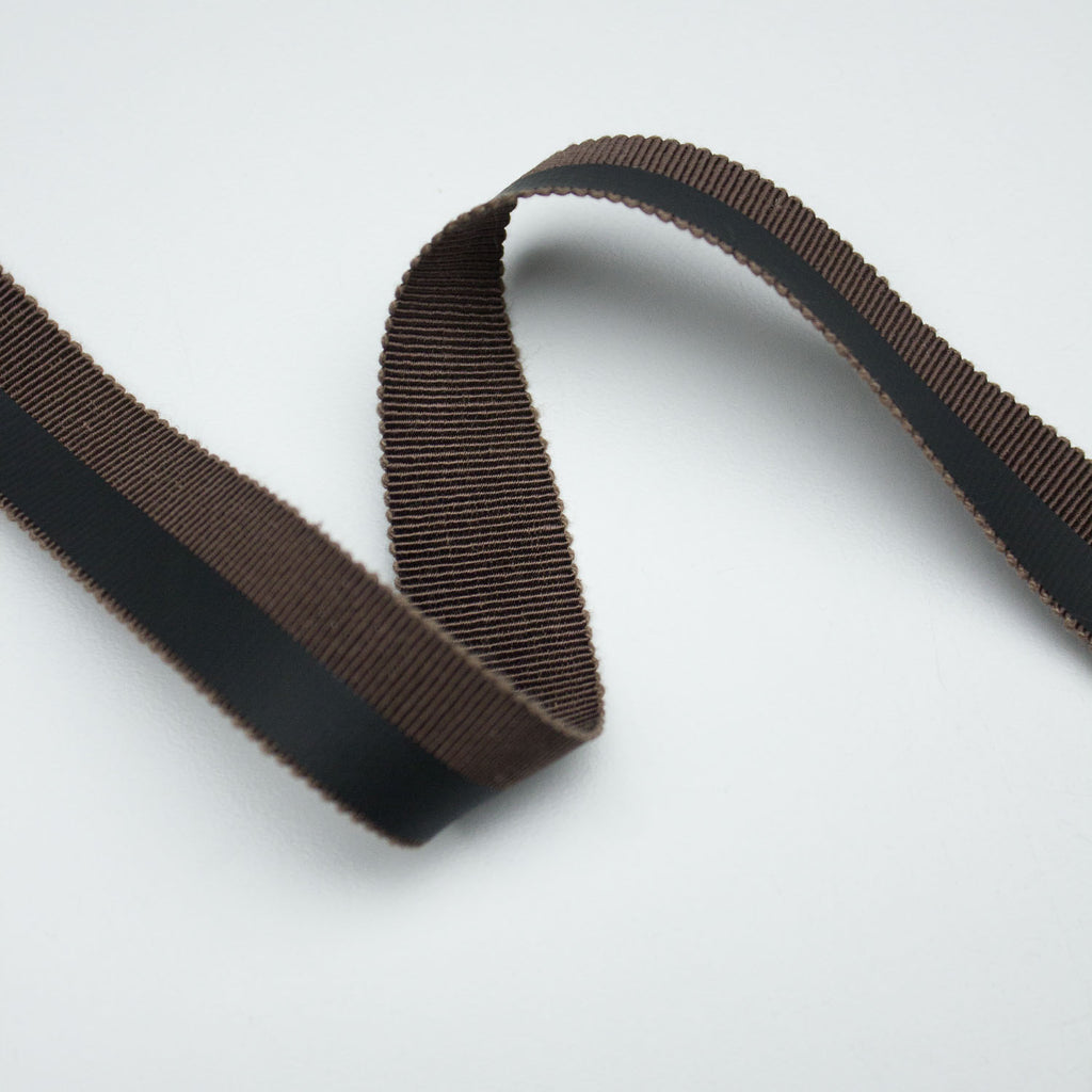 Brown Cotton Grosgrain Ribbon Coated 20mm
