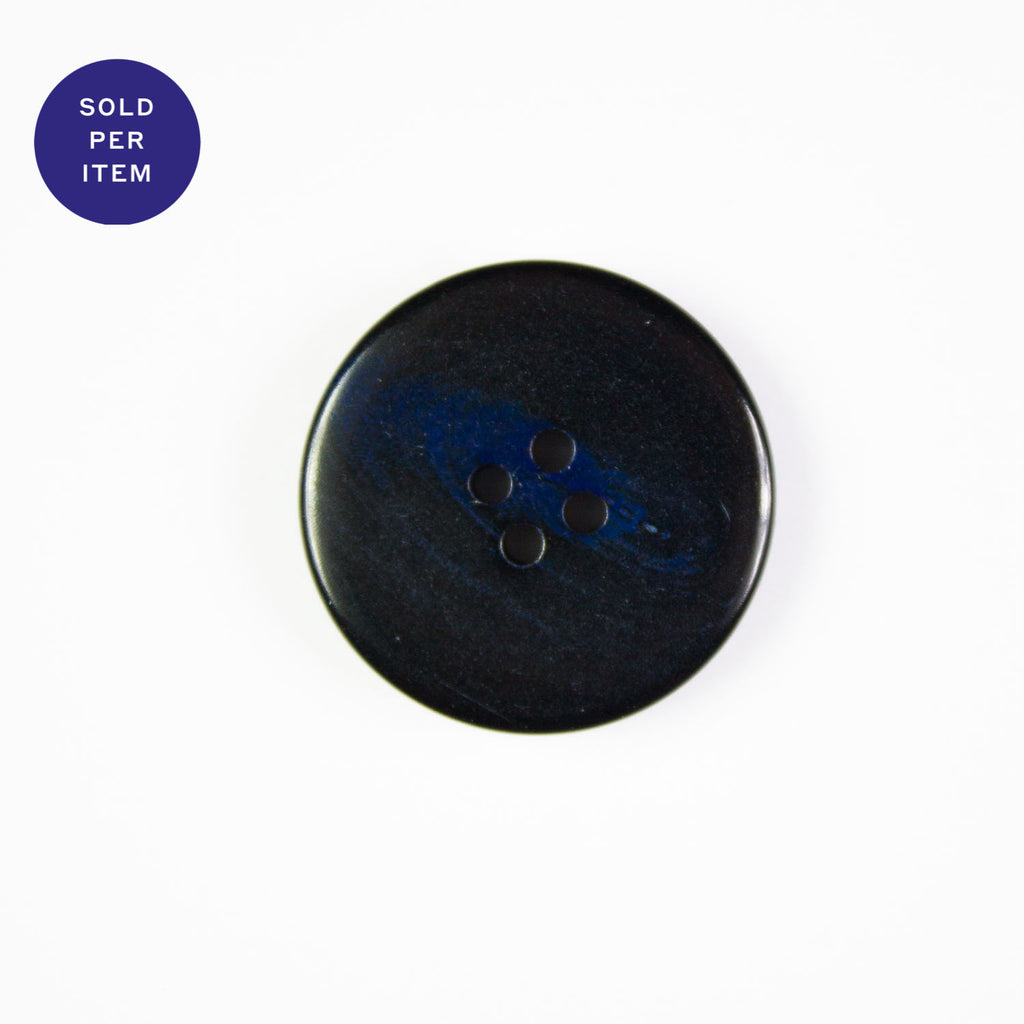 Babette Black & Blue 4-Hole Plastic Button