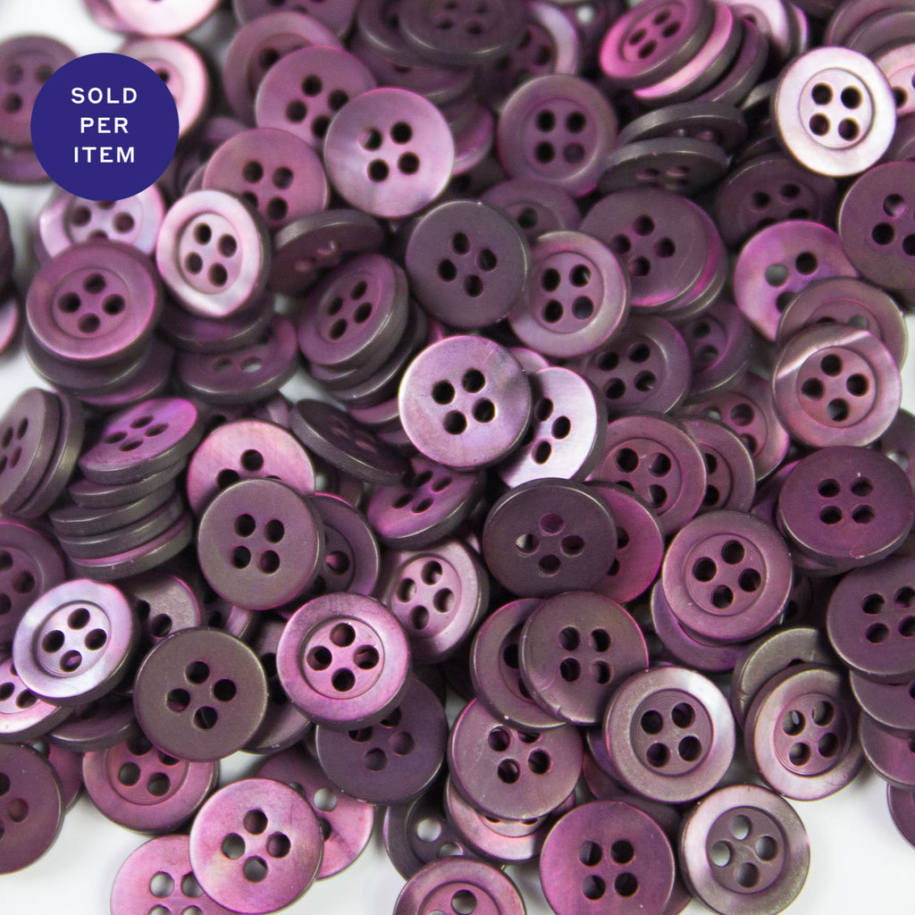 Purple 4-Hole Plastic Button - 9mm