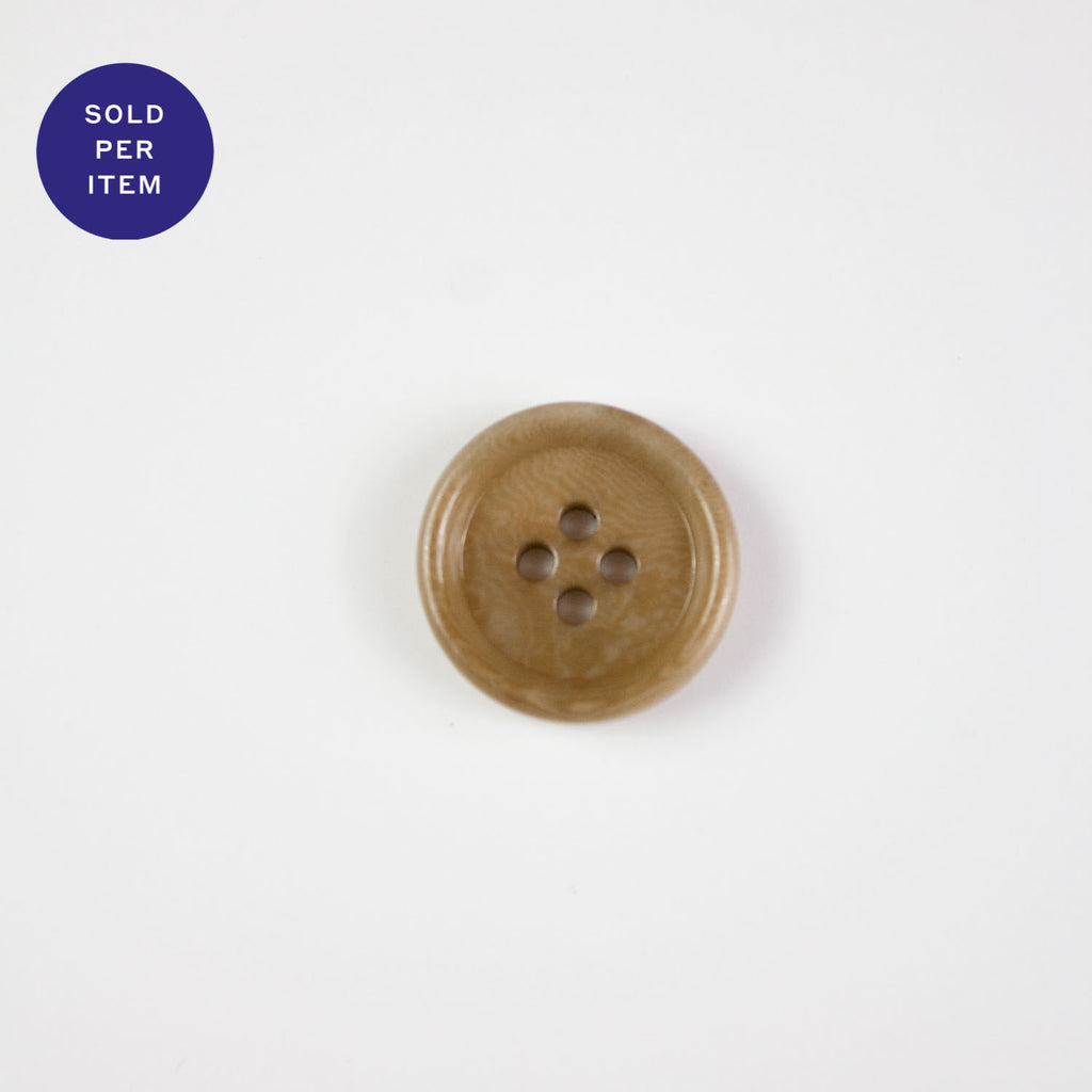 Dark Peanut 4-Hole Plastic Button - 20mm