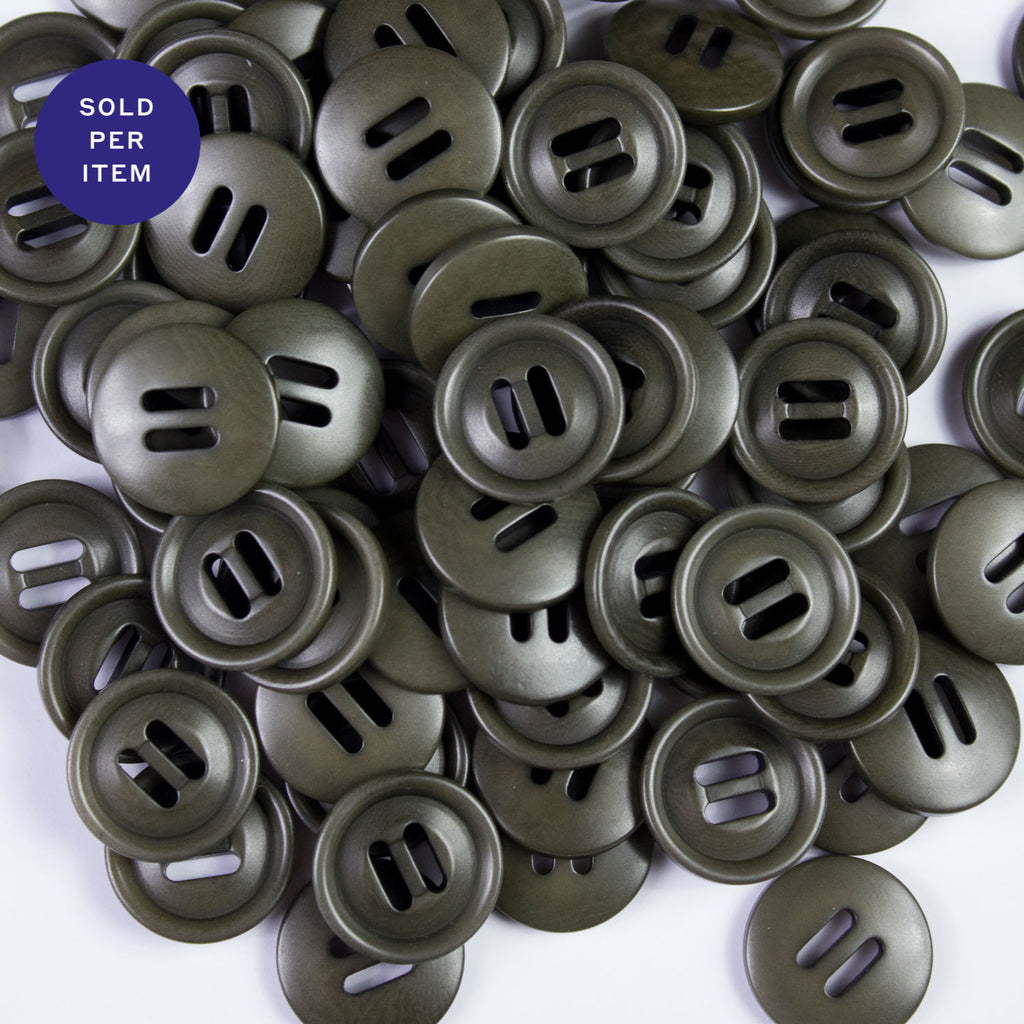 Khaki Green 2-Hole Plastic Button - 18mm