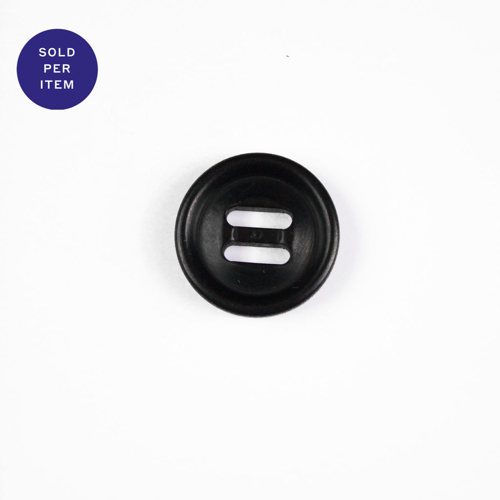 Flax Black 2-Hole Plastic Button - 18mm