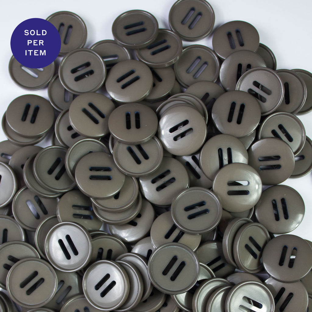 Flax Grey 2-Hole Plastic Button - 24mm
