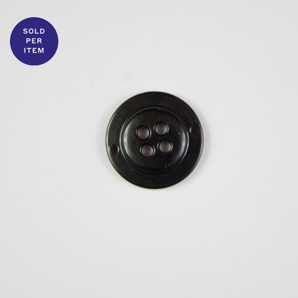 Black 4-Hole Metal Button