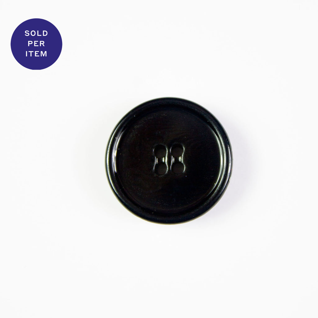 Midnight Black 4-Hole Plastic Button Glossy