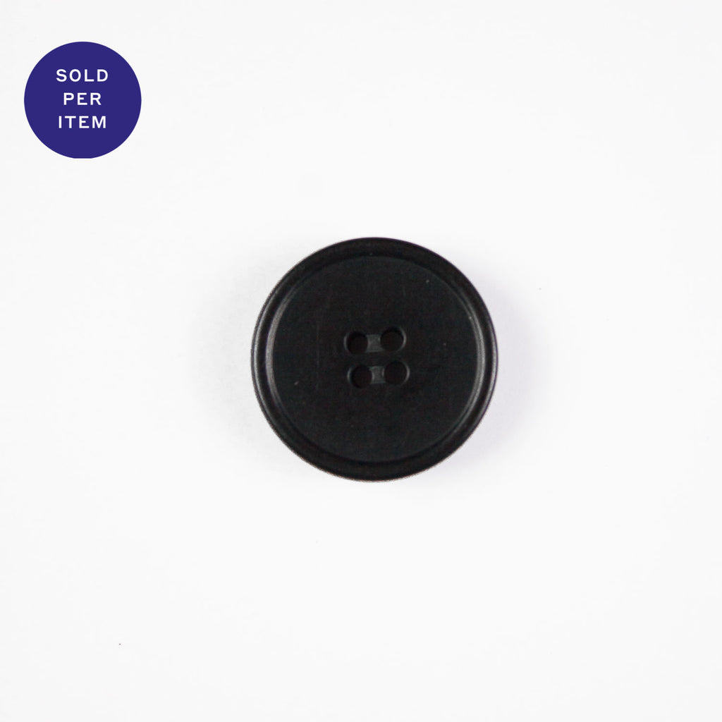 Midnight Black 4-Hole Plastic Button