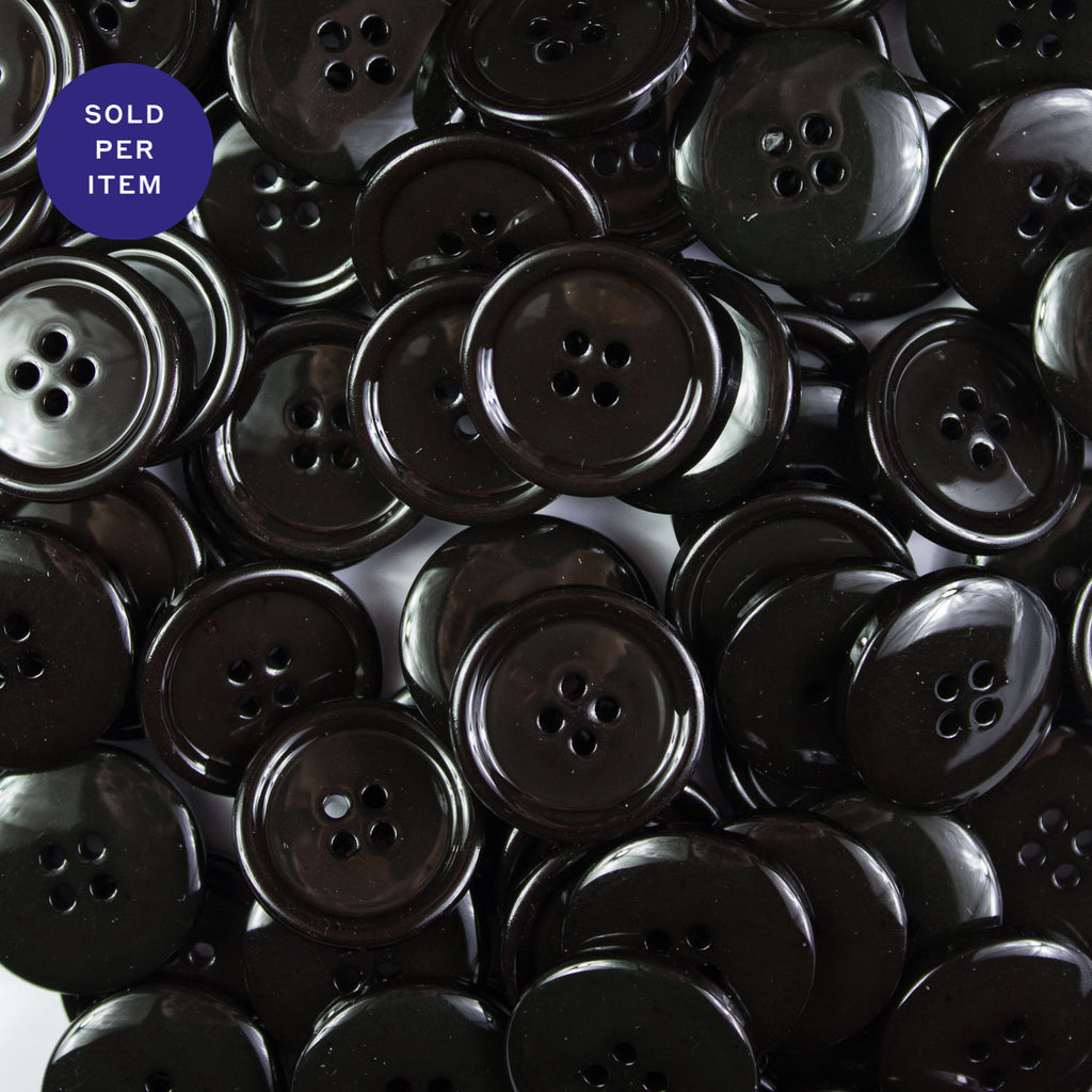 Dark Brown 4-Hole Plastic Button Glossy
