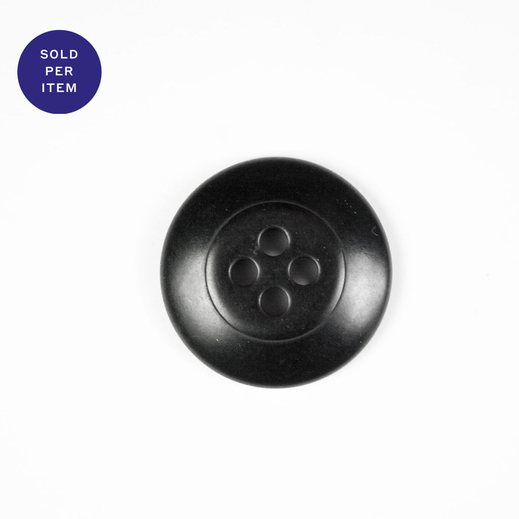 Mila Black 4-Hole Plastic Button