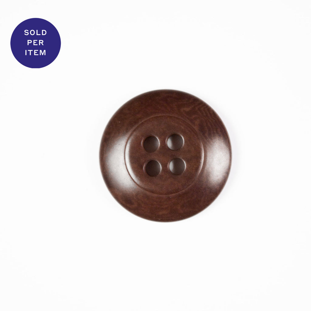 Walnut 4-Hole Plastic Button
