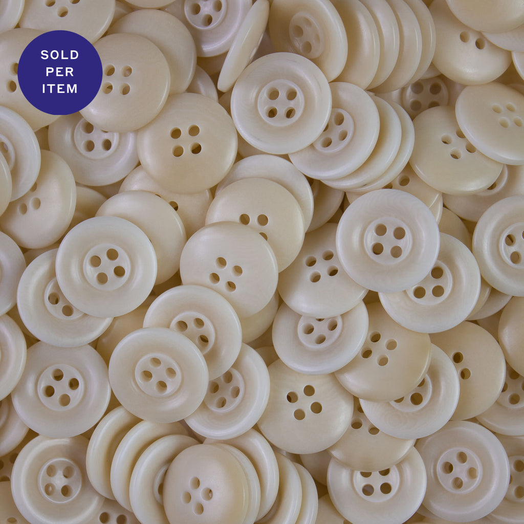 Ivory 4-Hole Plastic Button