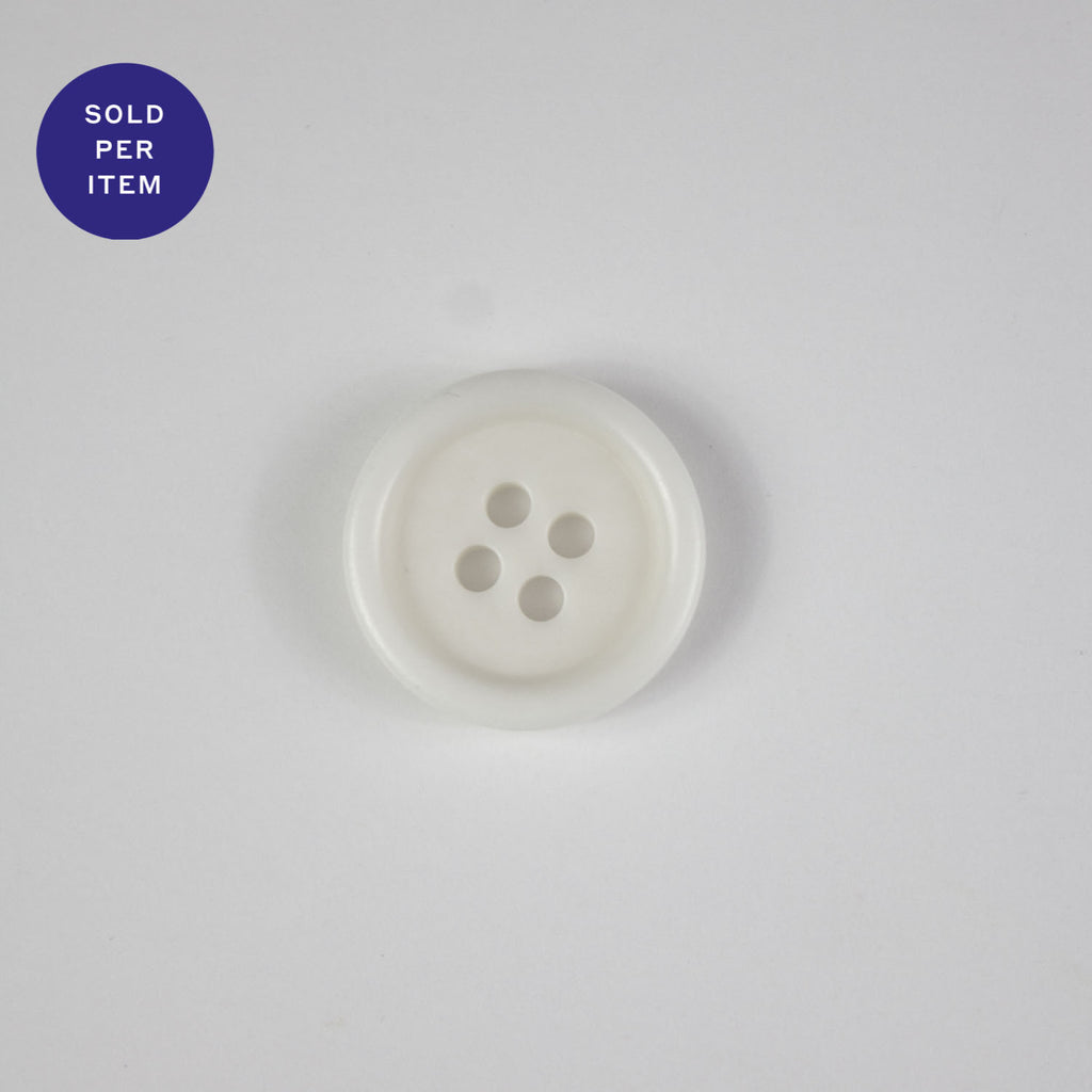 White 4-Hole Plastic Button