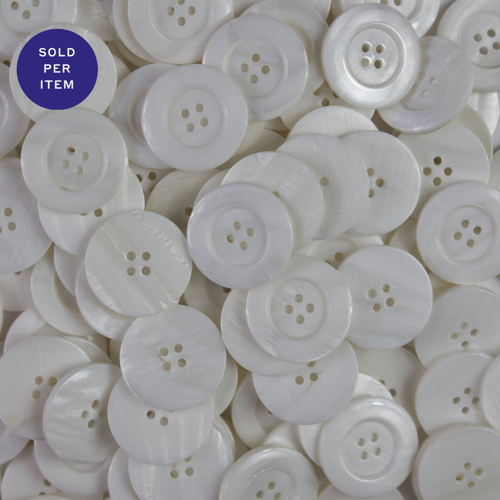 White 4-Hole Mother Of Pearl Button