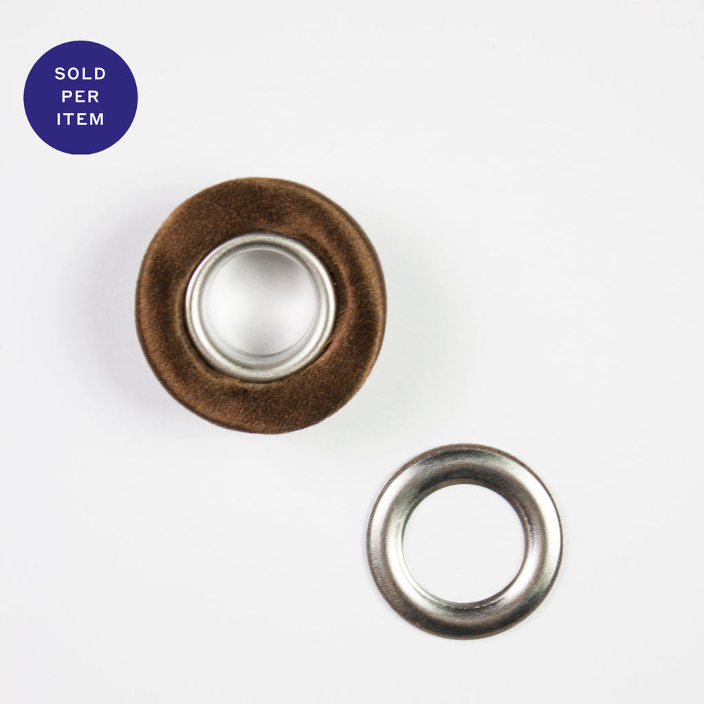 Fabric Covered Eyelet Brown - 14mm