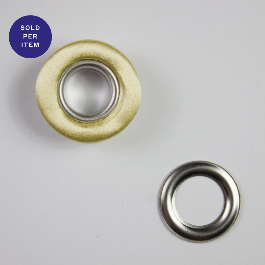 Fabric Covered Eyelet Vanilla - 14mm