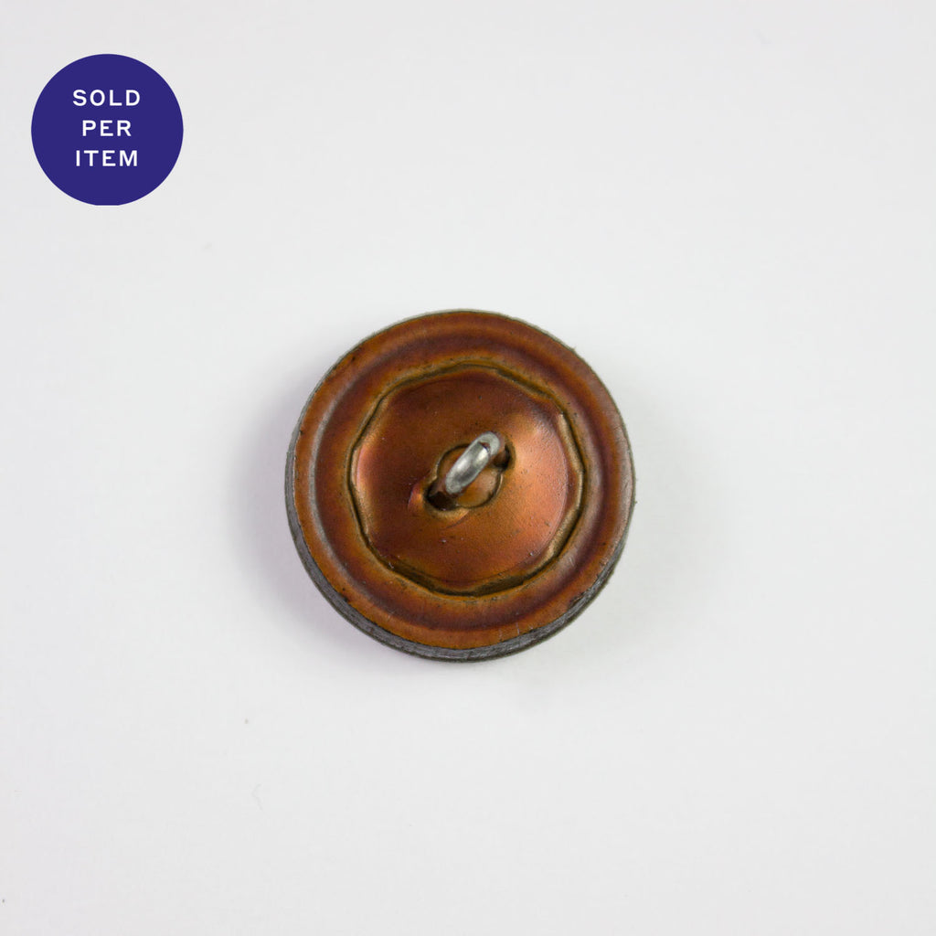Brown Leather Button - 20mm